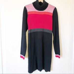 Free People Red Black Color Block Sweater Dress L